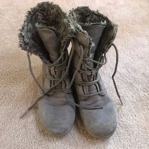 Stevies Gray Faux Fur Lined Side ZIP Lace Up Boots